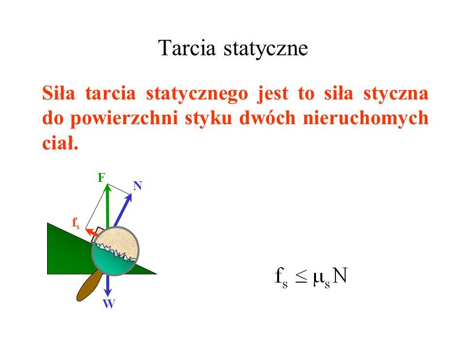Tarcia statyczne Siła tarcia statycznego jest to siła styczna do powierzchni styku dwóch nieruchomych ciał.