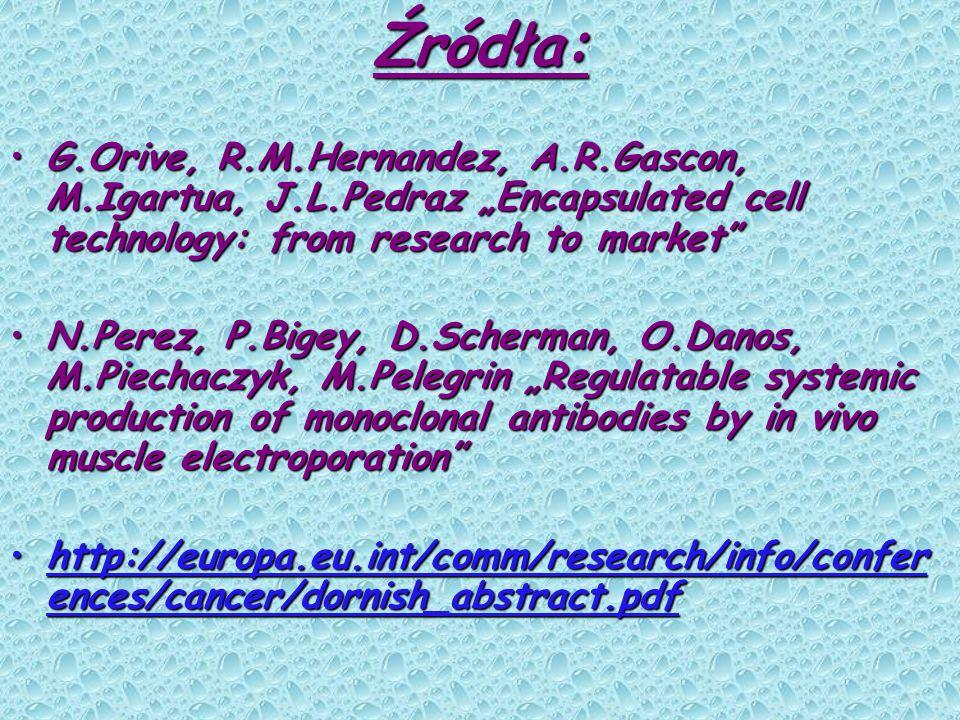 "Źródła: G.Orive, R.M.Hernandez, A.R.Gascon, M.Igartua, J.L.Pedraz ""Encapsulated cell technology: from research to market"
