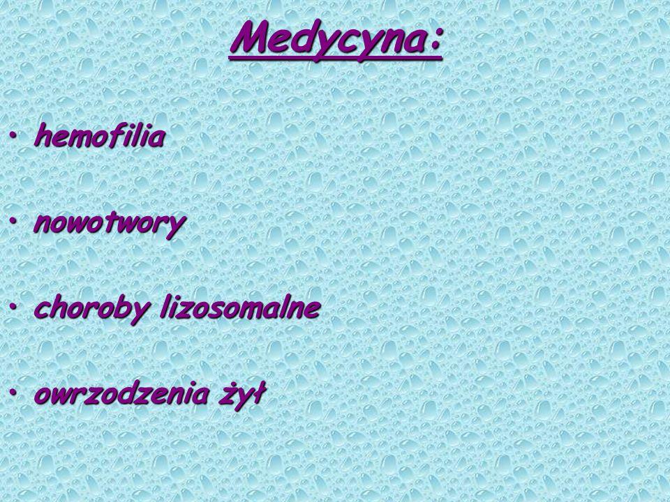 Medycyna: hemofilia nowotwory choroby lizosomalne owrzodzenia żył