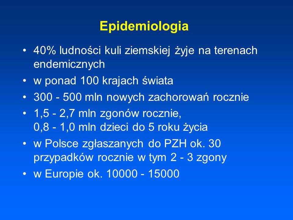Epidemiologia40% ludności kuli ziemskiej żyje na terenach endemicznych. w ponad 100 krajach świata.