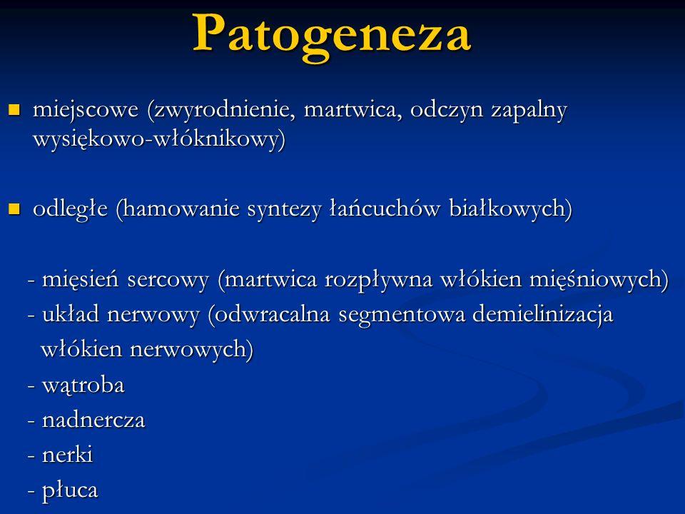 Patogeneza miejscowe (zwyrodnienie, martwica, odczyn zapalny wysiękowo-włóknikowy) odległe (hamowanie syntezy łańcuchów białkowych)
