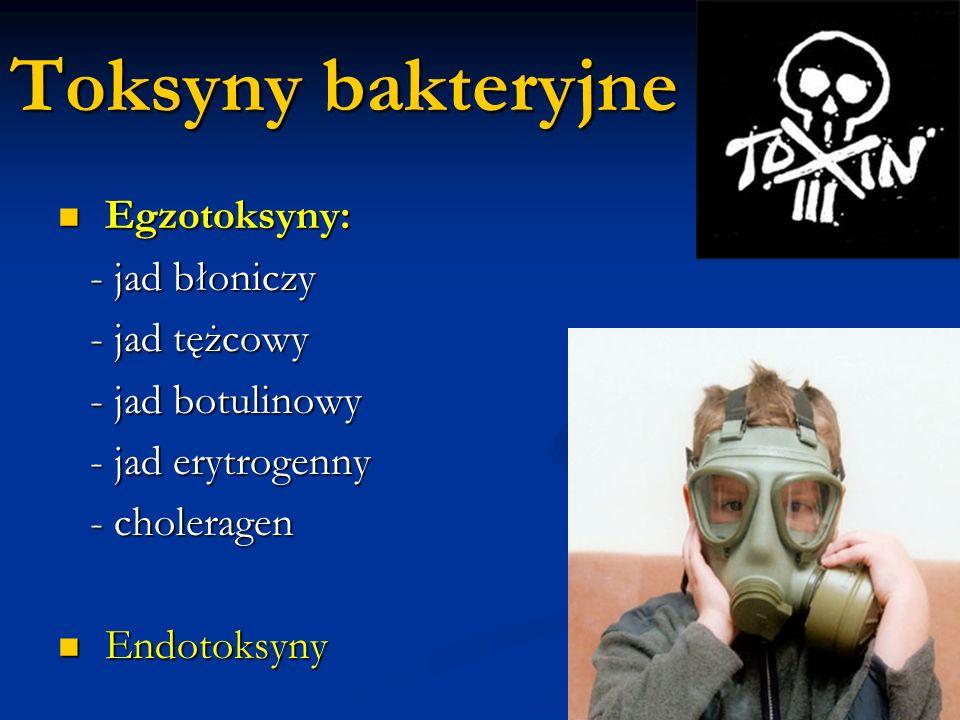 Toksyny bakteryjne Egzotoksyny: - jad błoniczy - jad tężcowy