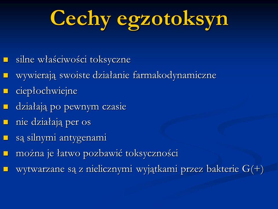Cechy egzotoksyn silne właściwości toksyczne
