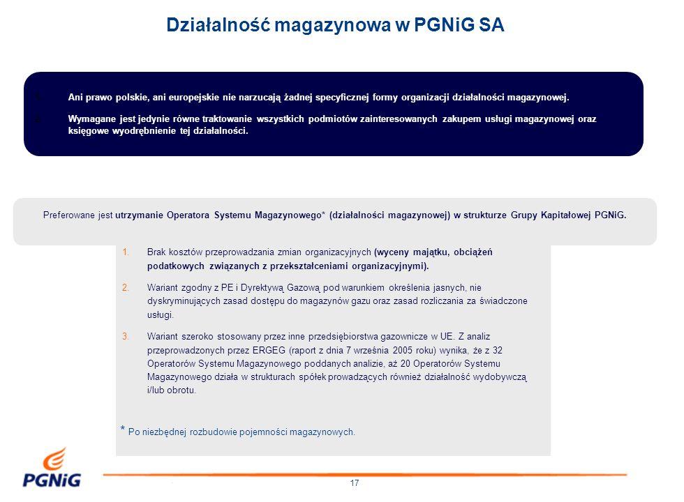 Działalność magazynowa w PGNiG SA