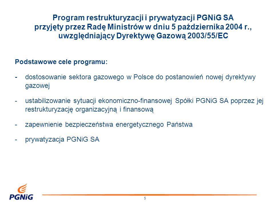 Program restrukturyzacji i prywatyzacji PGNiG SA przyjęty przez Radę Ministrów w dniu 5 października 2004 r., uwzględniający Dyrektywę Gazową 2003/55/EC