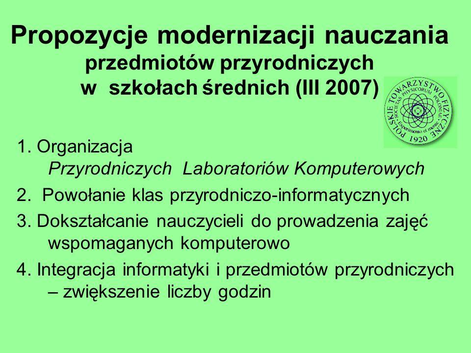 Propozycje modernizacji nauczania przedmiotów przyrodniczych w szkołach średnich (III 2007)