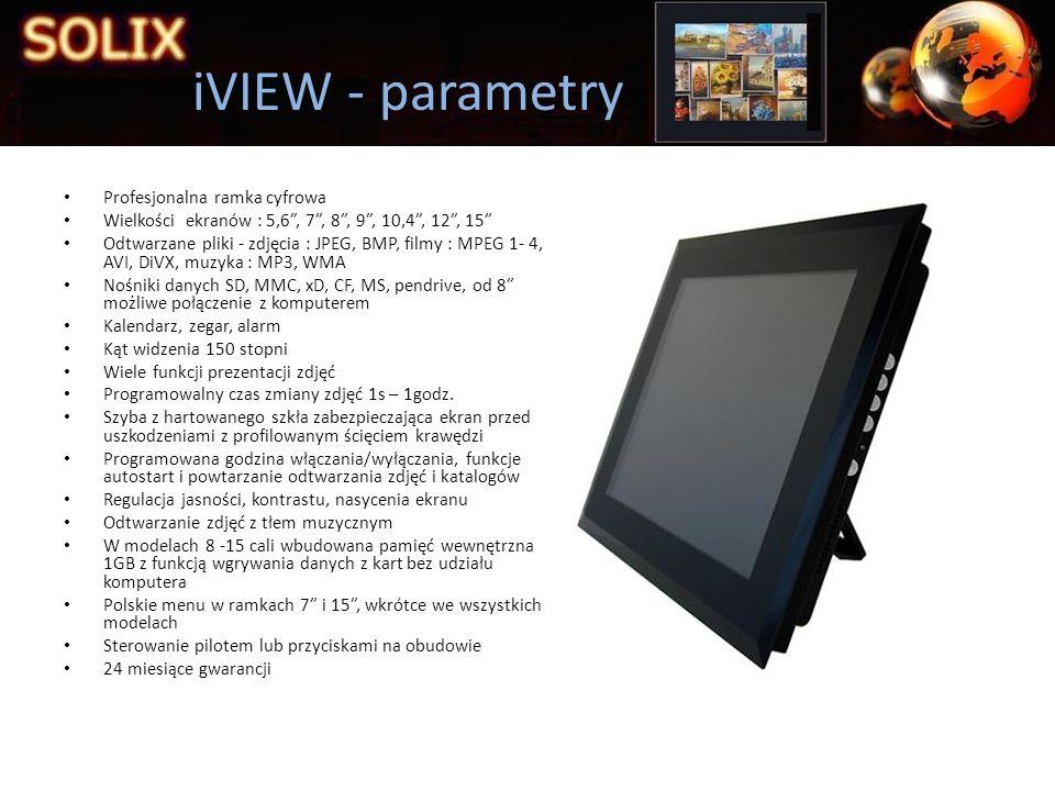 iVIEW - parametry Profesjonalna ramka cyfrowa