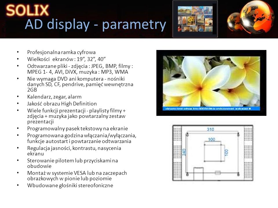 AD display - parametry Profesjonalna ramka cyfrowa