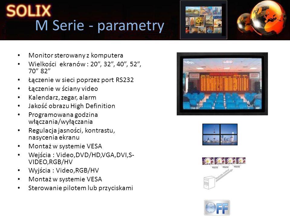 M Serie - parametry Monitor sterowany z komputera