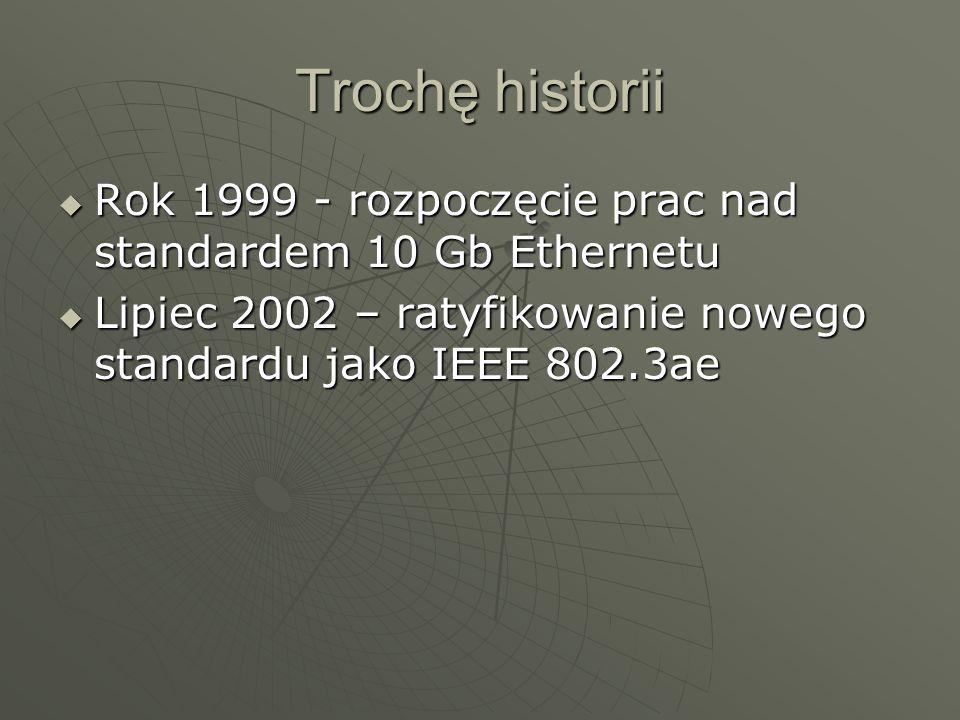 Trochę historiiRok 1999 - rozpoczęcie prac nad standardem 10 Gb Ethernetu.