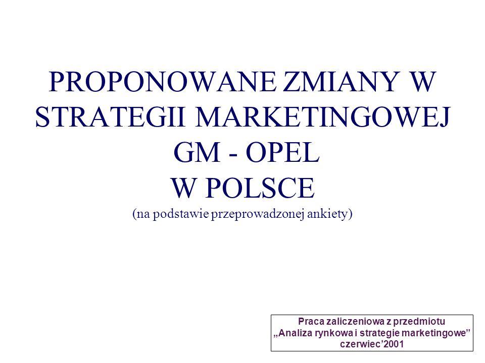 PROPONOWANE ZMIANY W STRATEGII MARKETINGOWEJ GM - OPEL W POLSCE (na podstawie przeprowadzonej ankiety)