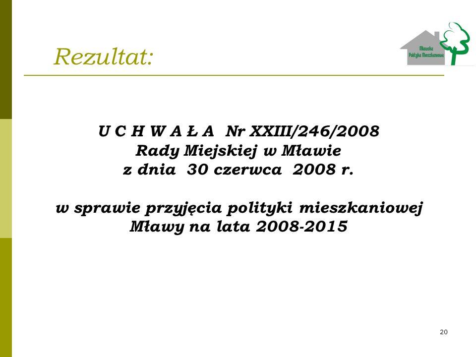 Rezultat: U C H W A Ł A Nr XXIII/246/2008 Rady Miejskiej w Mławie