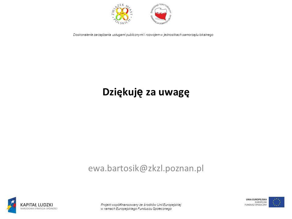 Dziękuję za uwagę ewa.bartosik@zkzl.poznan.pl