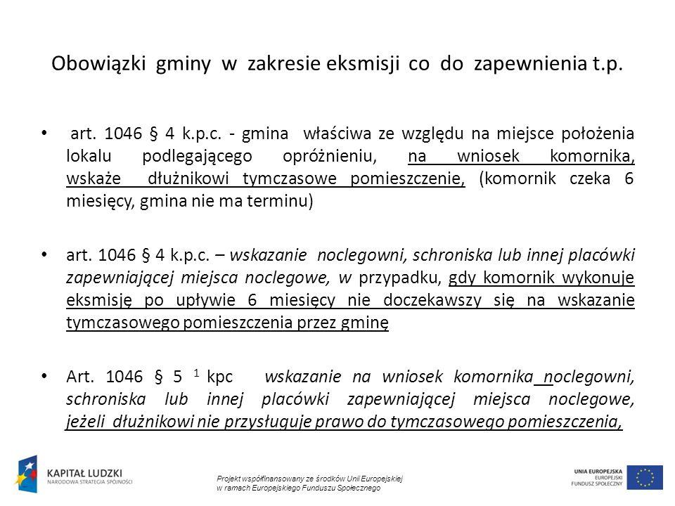 Obowiązki gminy w zakresie eksmisji co do zapewnienia t.p.
