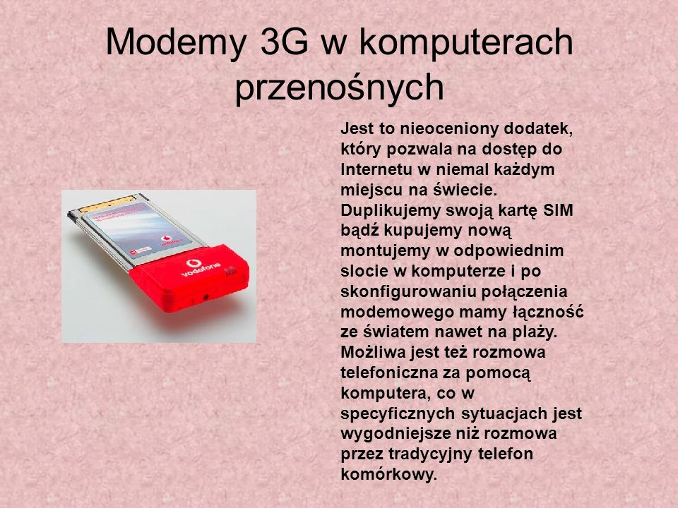 Modemy 3G w komputerach przenośnych