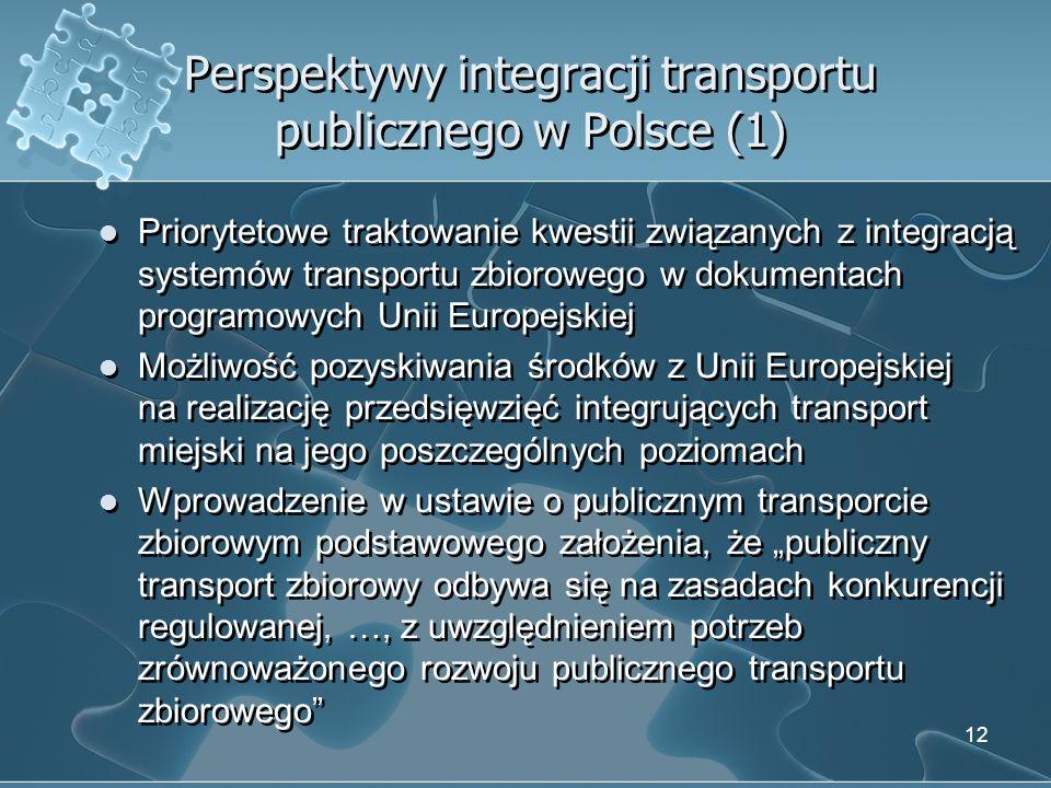 Perspektywy integracji transportu publicznego w Polsce (1)