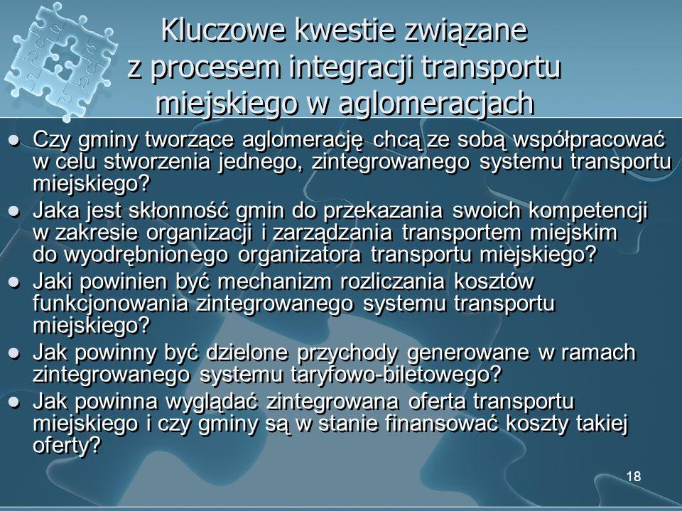 Kluczowe kwestie związane z procesem integracji transportu miejskiego w aglomeracjach