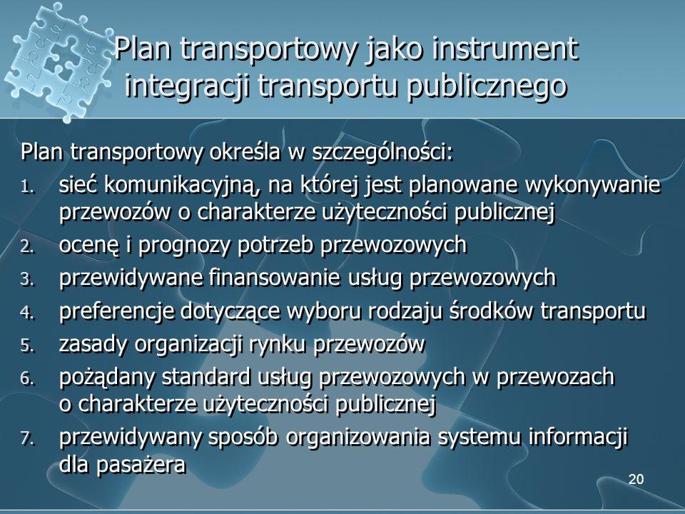 Plan transportowy jako instrument integracji transportu publicznego