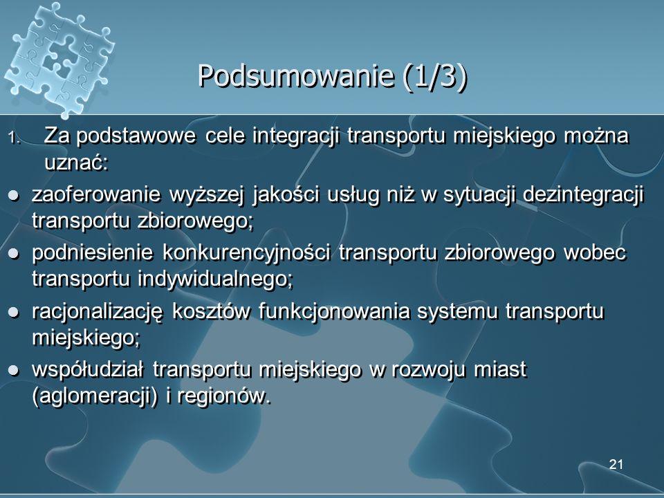 Podsumowanie (1/3) Za podstawowe cele integracji transportu miejskiego można uznać: