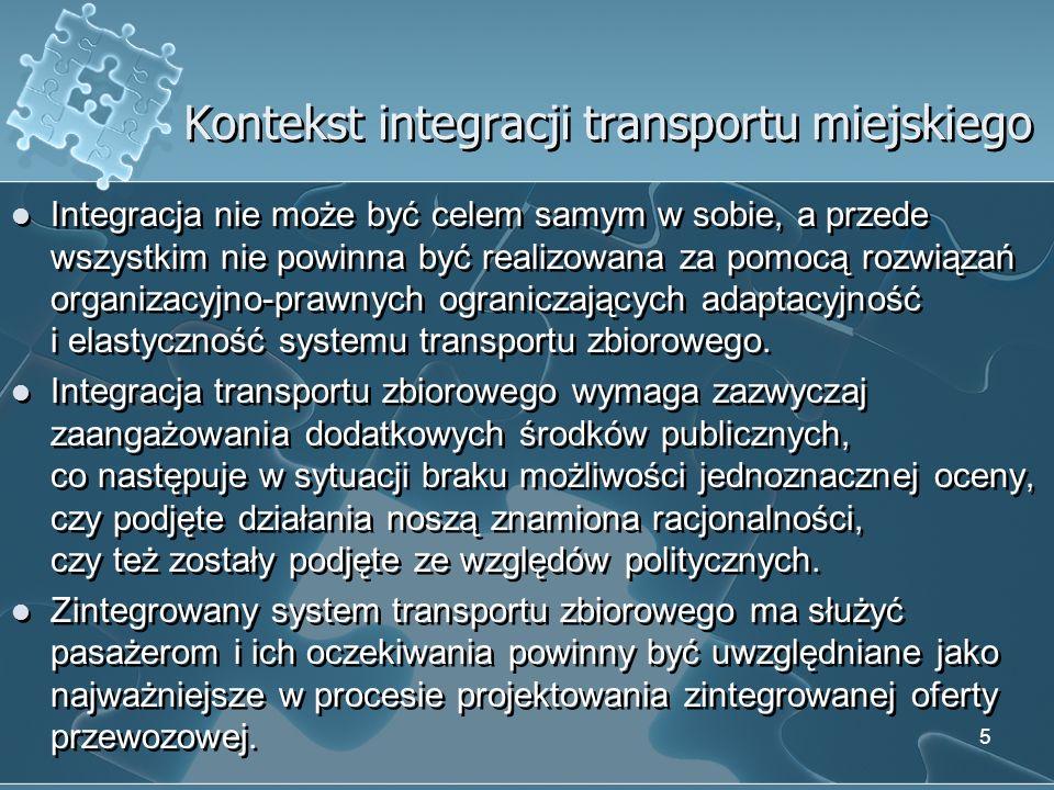 Kontekst integracji transportu miejskiego