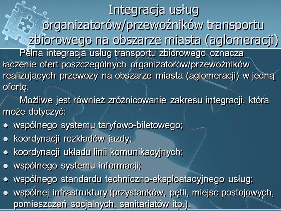 wspólnego systemu taryfowo-biletowego; koordynacji rozkładów jazdy;