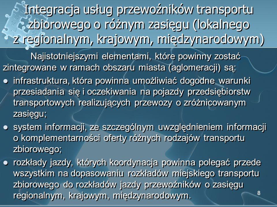 Integracja usług przewoźników transportu zbiorowego o różnym zasięgu (lokalnego z regionalnym, krajowym, międzynarodowym)