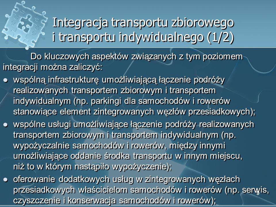 Integracja transportu zbiorowego i transportu indywidualnego (1/2)