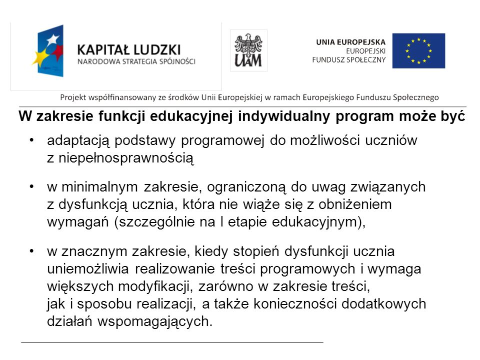 W zakresie funkcji edukacyjnej indywidualny program może być