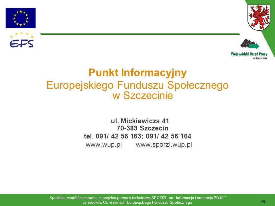 Europejskiego Funduszu Społecznego w Szczecinie