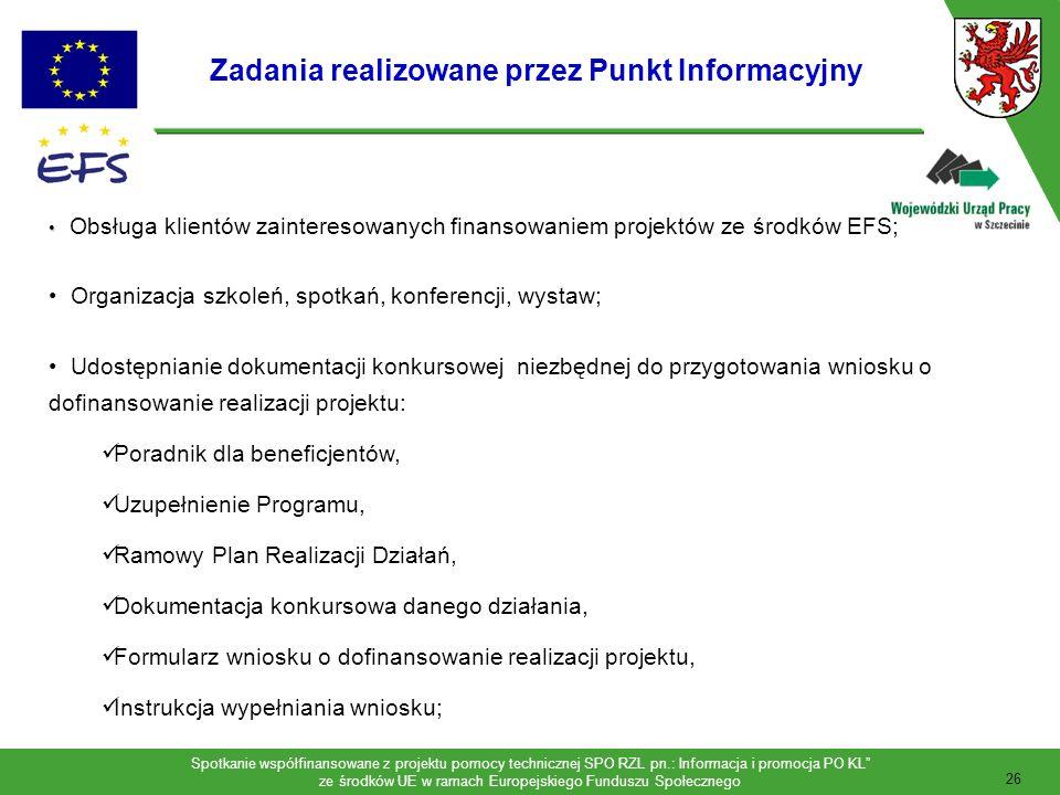Zadania realizowane przez Punkt Informacyjny