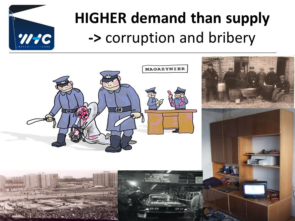 HIGHER demand than supply -> corruption and bribery