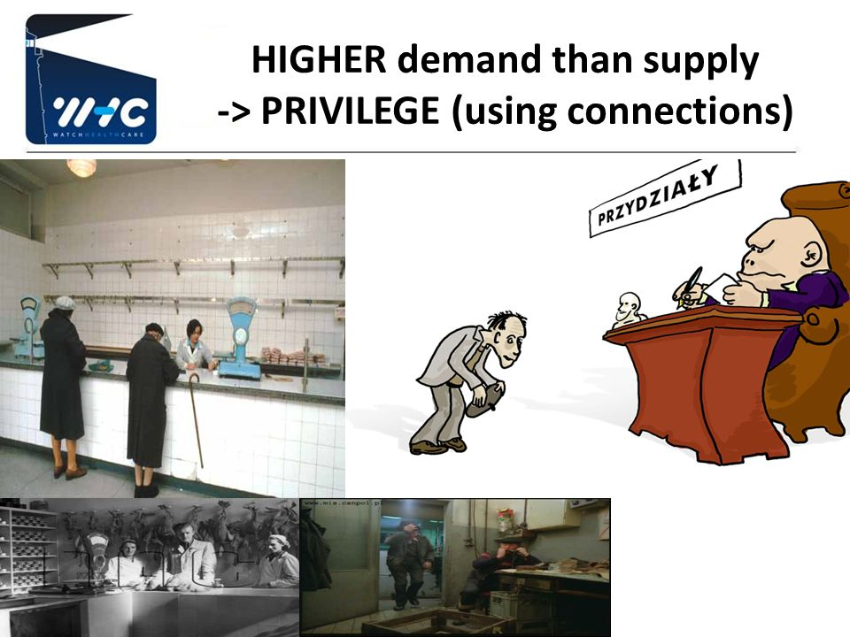 HIGHER demand than supply -> PRIVILEGE (using connections)