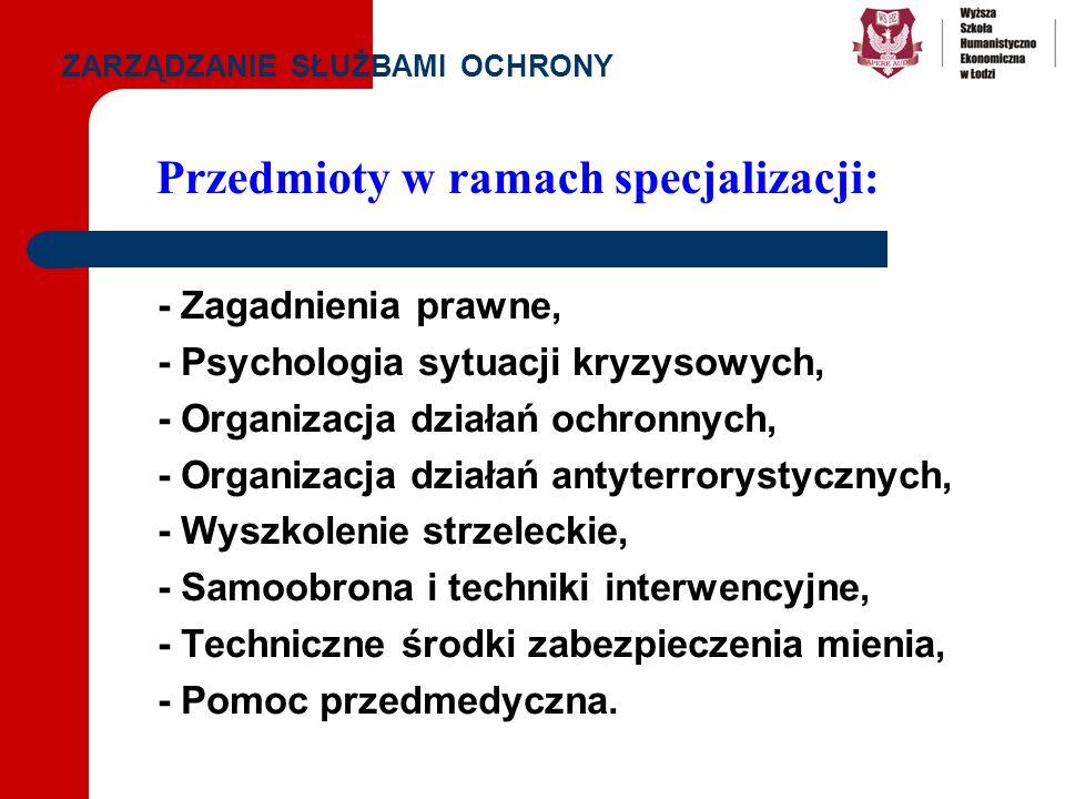 Przedmioty w ramach specjalizacji: