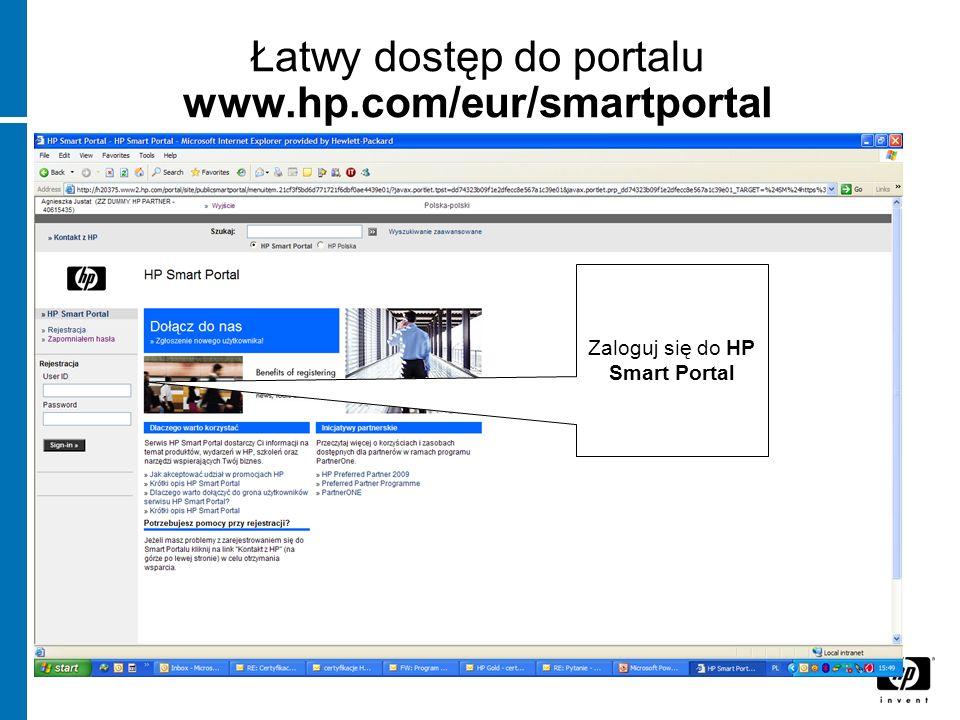 Łatwy dostęp do portalu www.hp.com/eur/smartportal