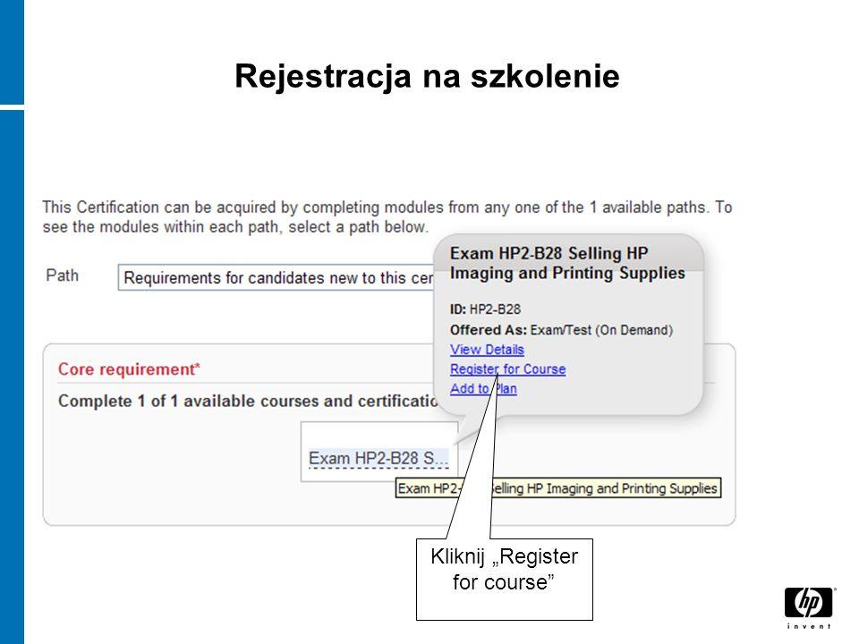 Rejestracja na szkolenie