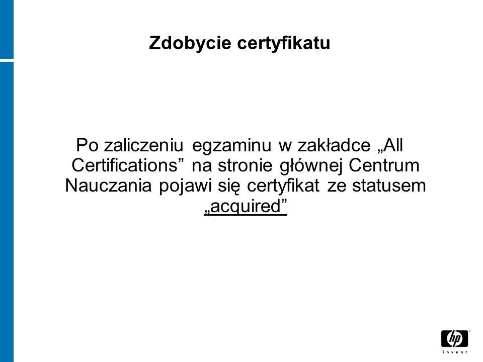 Zdobycie certyfikatu