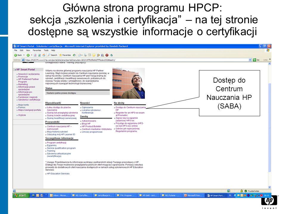 Dostęp do Centrum Nauczania HP (SABA)