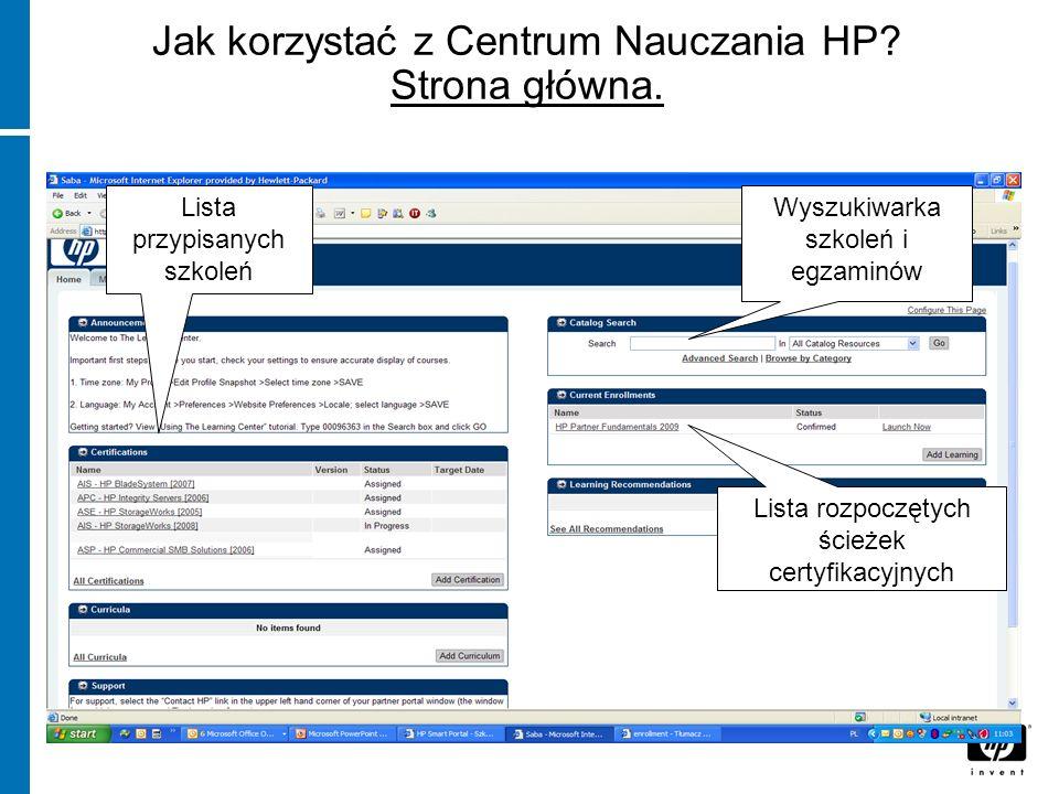 Jak korzystać z Centrum Nauczania HP Strona główna.