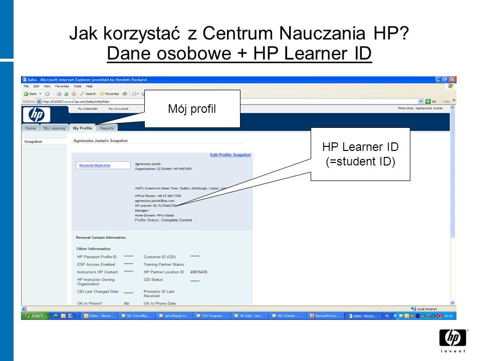 Jak korzystać z Centrum Nauczania HP Dane osobowe + HP Learner ID