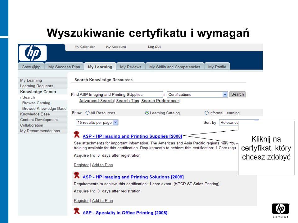 Wyszukiwanie certyfikatu i wymagań