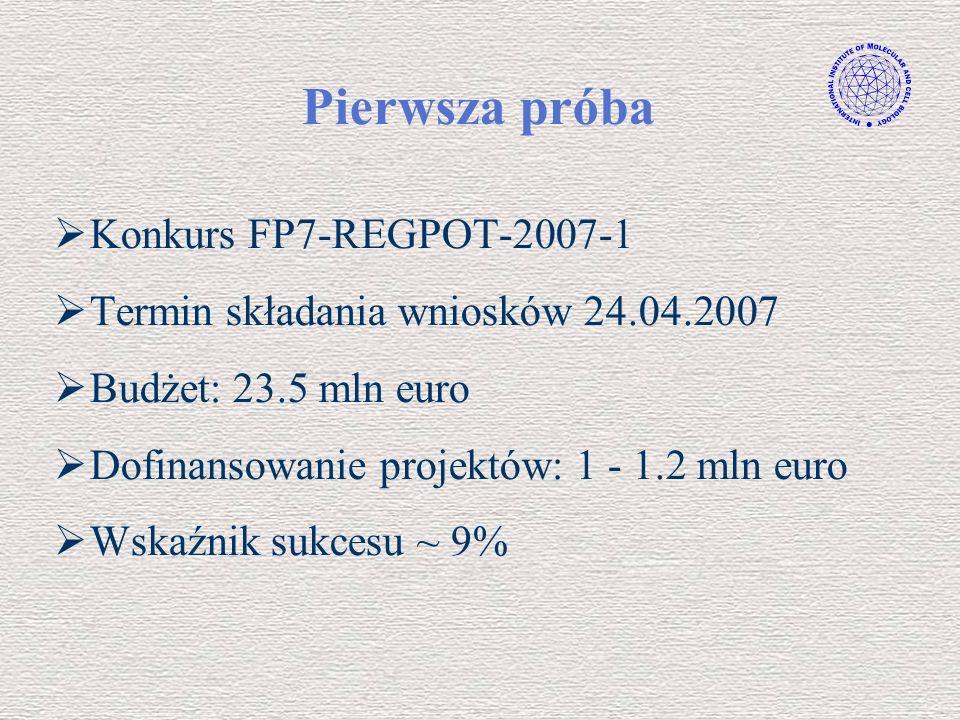 Pierwsza próba Konkurs FP7-REGPOT-2007-1