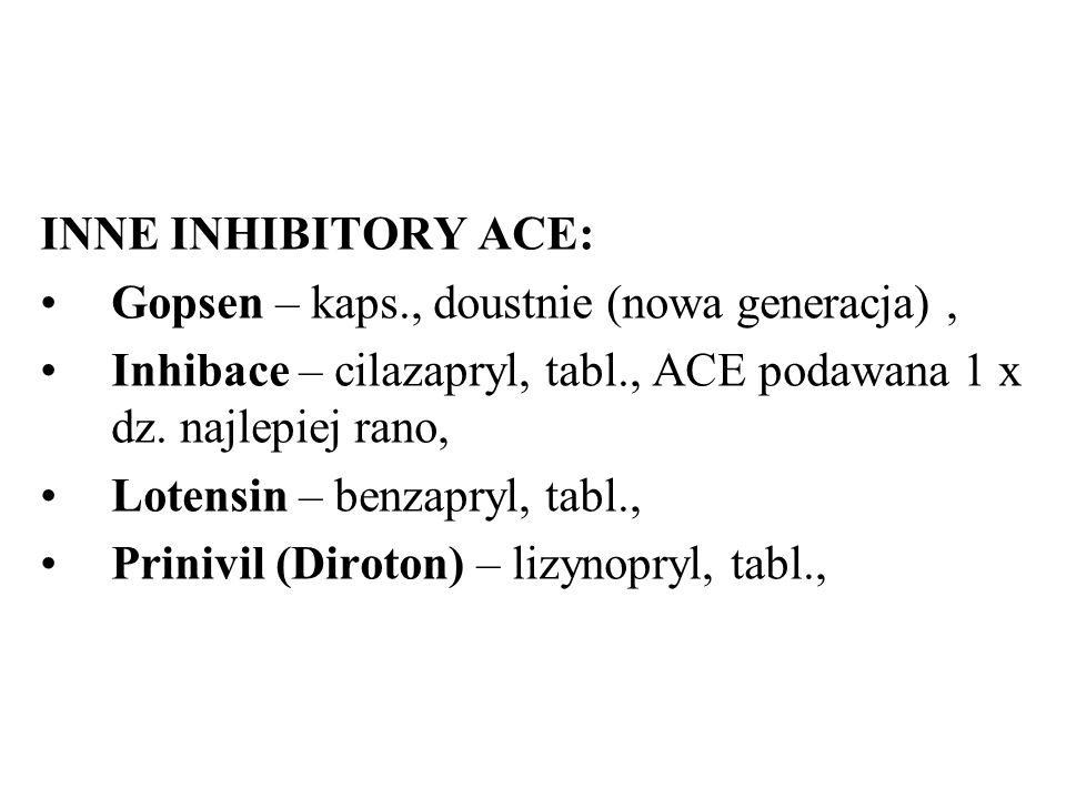 INNE INHIBITORY ACE: Gopsen – kaps., doustnie (nowa generacja) , Inhibace – cilazapryl, tabl., ACE podawana 1 x dz. najlepiej rano,