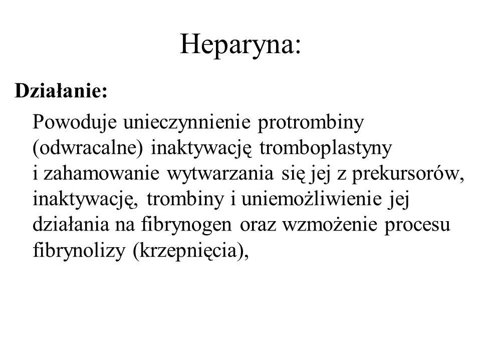 Heparyna: Działanie: