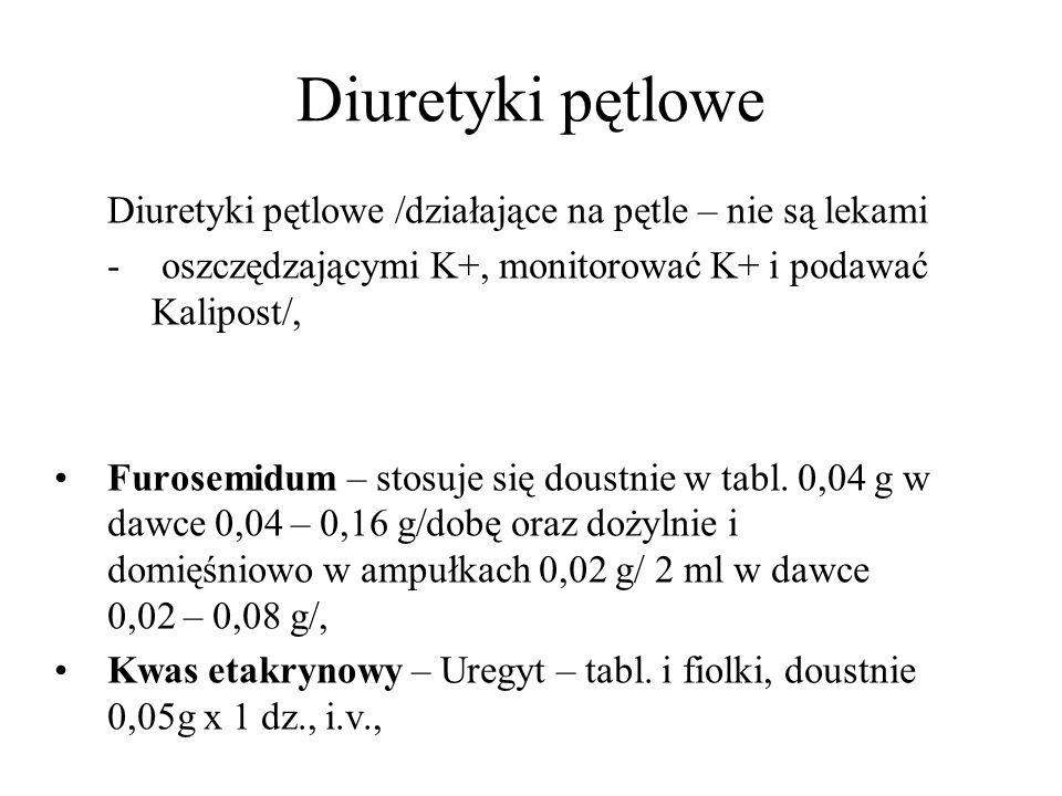 Diuretyki pętlowe Diuretyki pętlowe /działające na pętle – nie są lekami. oszczędzającymi K+, monitorować K+ i podawać Kalipost/,