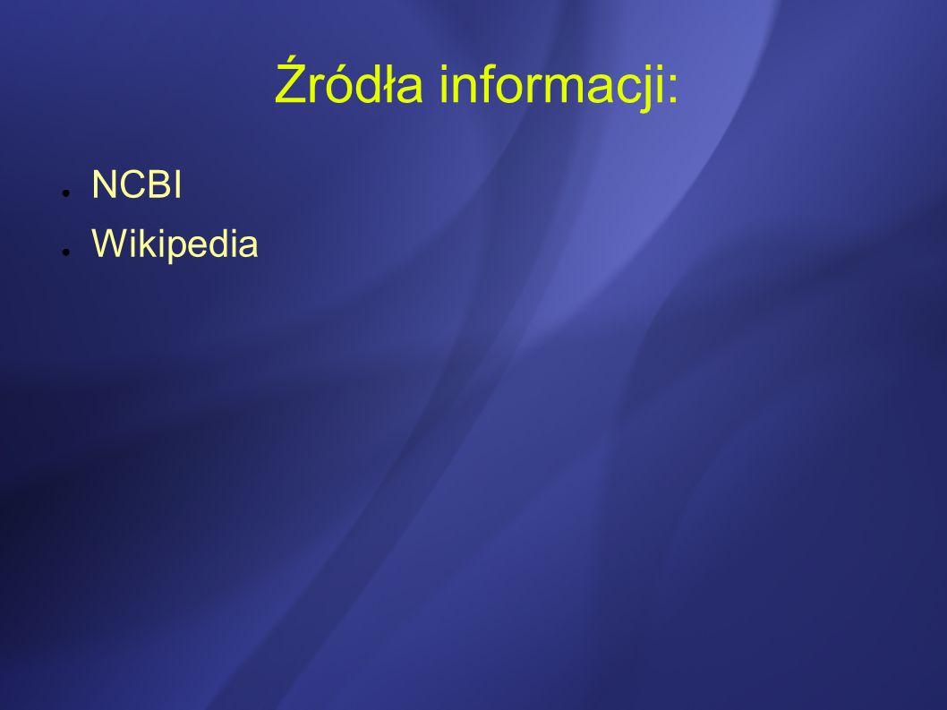 Źródła informacji: NCBI Wikipedia