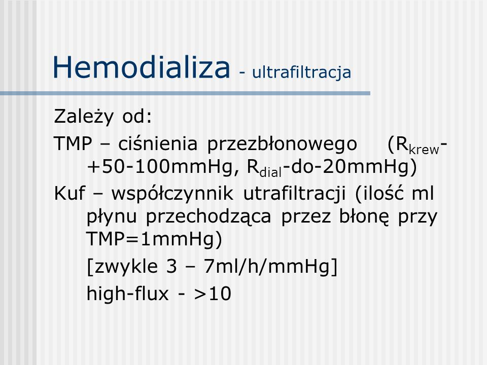 Hemodializa - ultrafiltracja