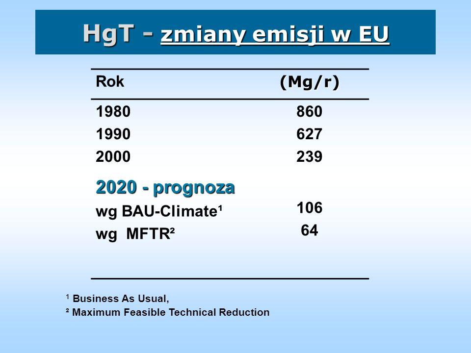 HgT - zmiany emisji w EU 2020 - prognoza Rok (Mg/r) 1980 1990 2000 860