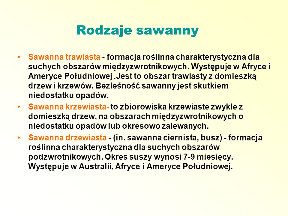 Rodzaje sawanny