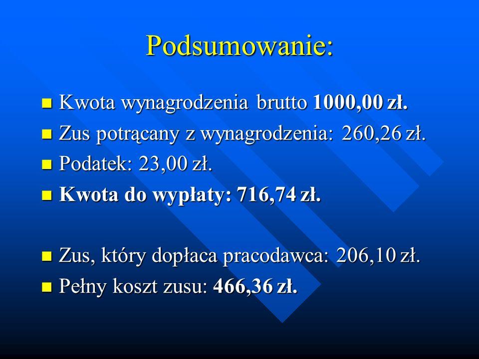 Podsumowanie: Kwota wynagrodzenia brutto 1000,00 zł.