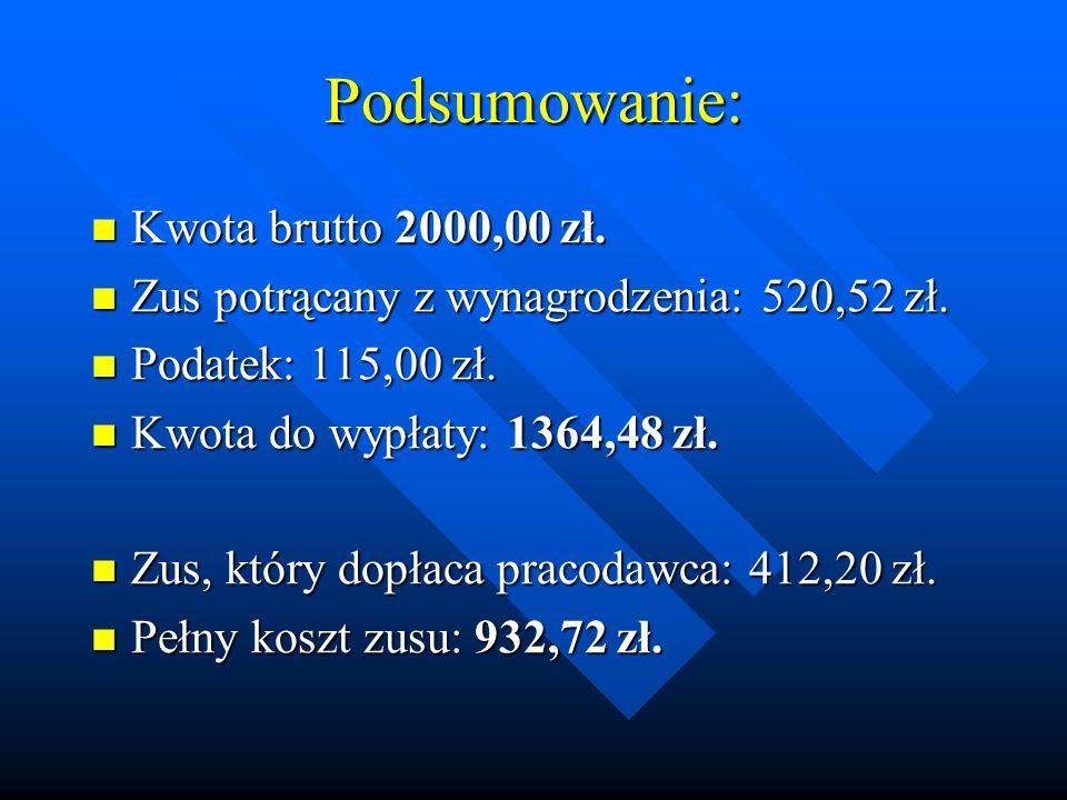 Podsumowanie: Kwota brutto 2000,00 zł.